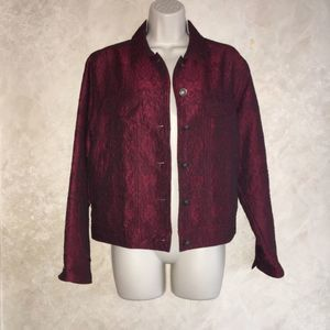 J. Jill Size XS Burgundy Jacket Fall Lightweight
